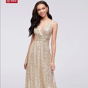 Gold Sequin V Neck Formal Dress